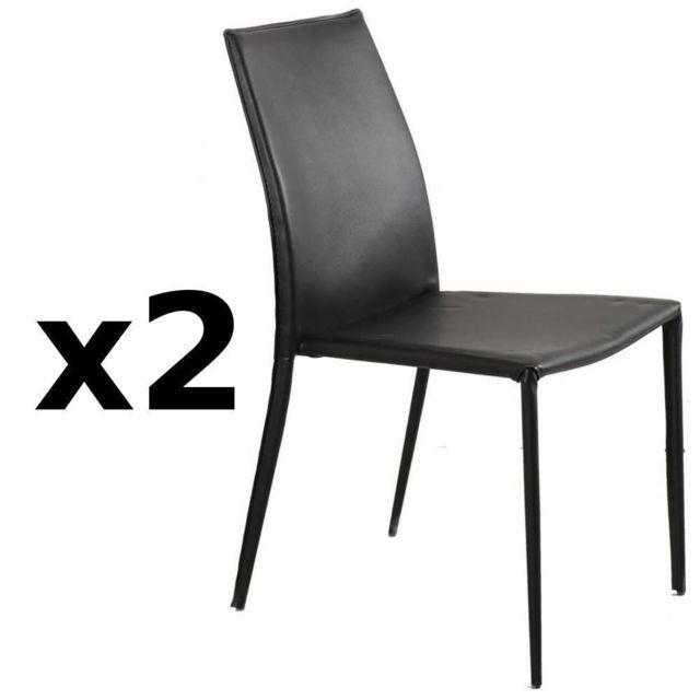 Inside 75 Lot de 2 chaises design Polo en tissu enduit polyuréthane simili façon cuir noir