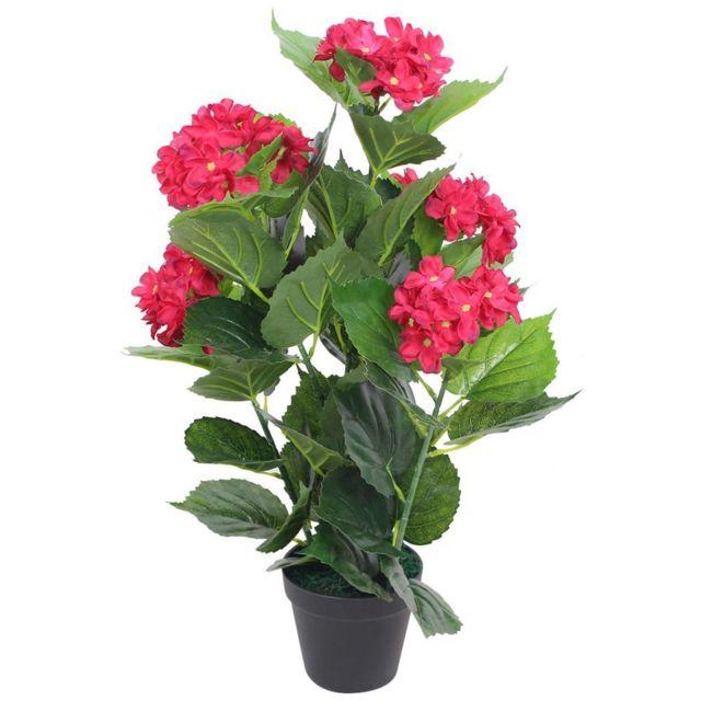vidaxl plante hortensia artificielle avec pot 60 cm rouge pas cher achat vente petite d co. Black Bedroom Furniture Sets. Home Design Ideas