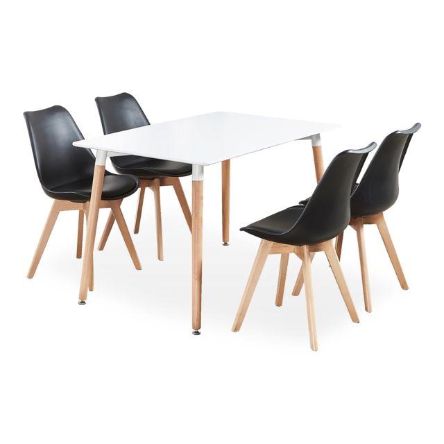 Home Design International Ensemble Table Et 4 Chaises Noires