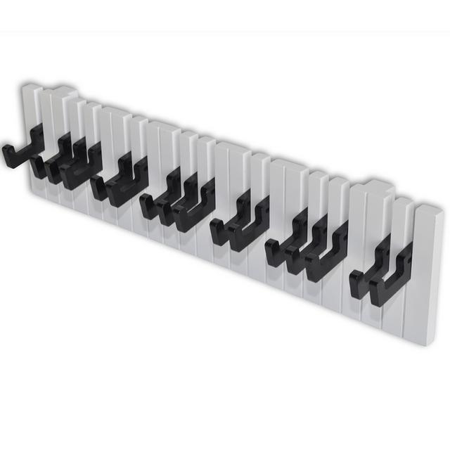 Rocambolesk Superbe Portemanteau mural style clavier de piano avec 16 crochets noirs neuf