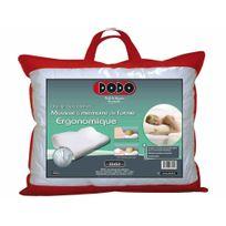 DODO - Oreiller ergonomique mousse à mémoire de forme env coton 32x52cm Cerviconfort