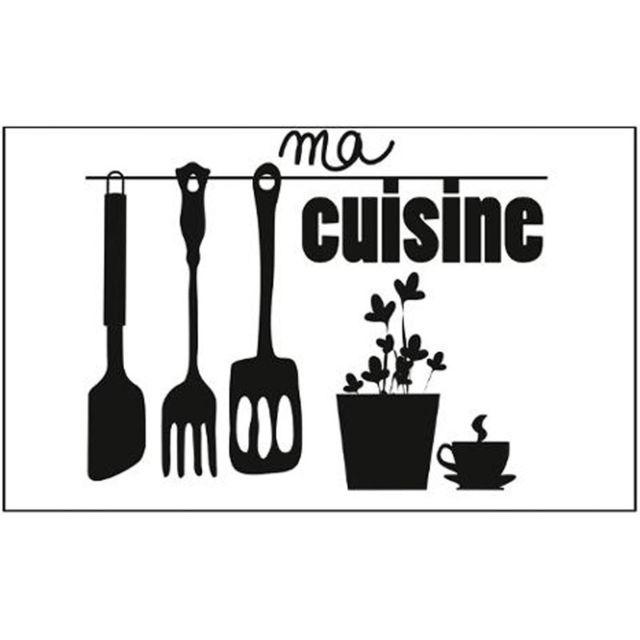 Paris prix adh sif mural cuisine ma cuisine 75x45cm noir pas cher achat vente stickers - Adhesif mural cuisine ...