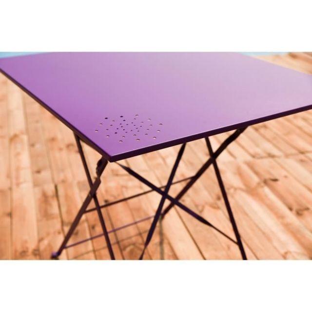 Salon De Jardin - Ensemble Table Chaise Fauteuil De Jardin - Set bistrot  table 70x70 cm + 2 chaises - Fuschia - Hieno