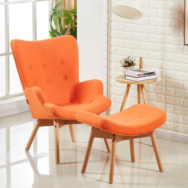 Oneboutic Fauteuil scandinave orange - Stockholm