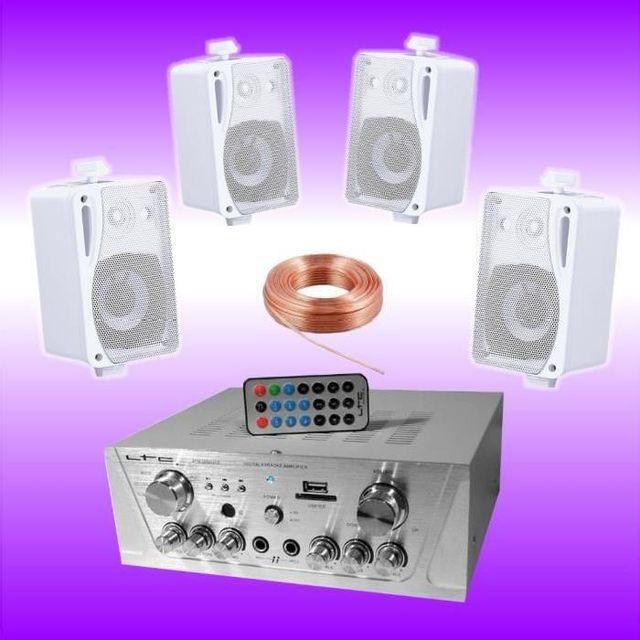 Ibiza Sound Pack sono maison magasin avec ampli usb - 4 enceintes hifi 80w