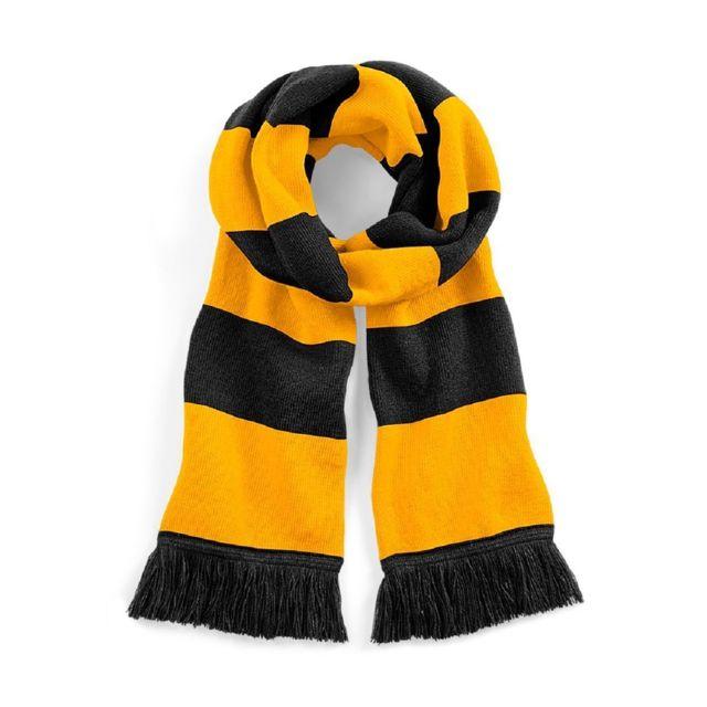 24a1a3bdde307 Beechfield - Longue écharpe rayée - B479 - noir et jaune - pas cher ...