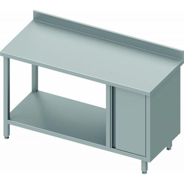 Materiel Chr Pro Table Inox Cuisine Adossée Avec 1 Porte et Etagère - Gamme 700 - Stalgast - inox 800x700 700
