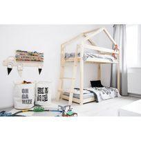 Monlitcabane - Lit Superposé cabane bois massif + sommiers 90X190
