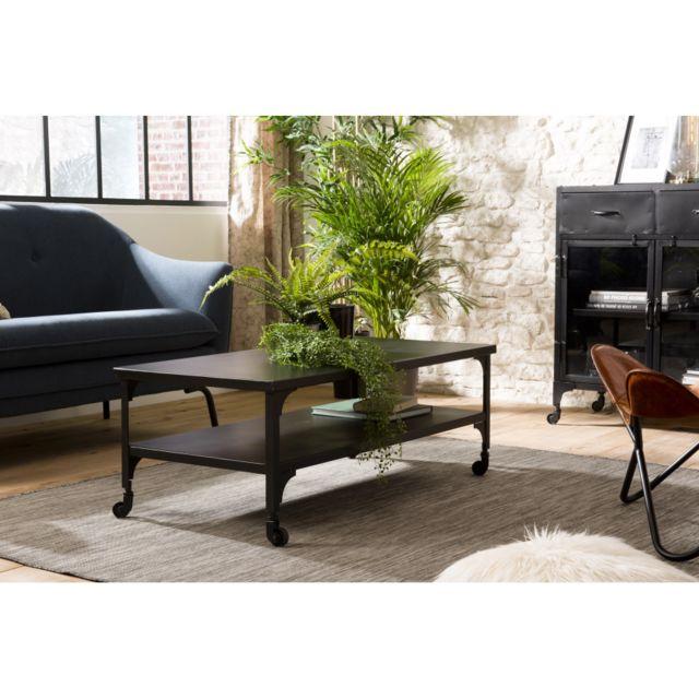 Macabane Table basse métal noir industrielle double plateau