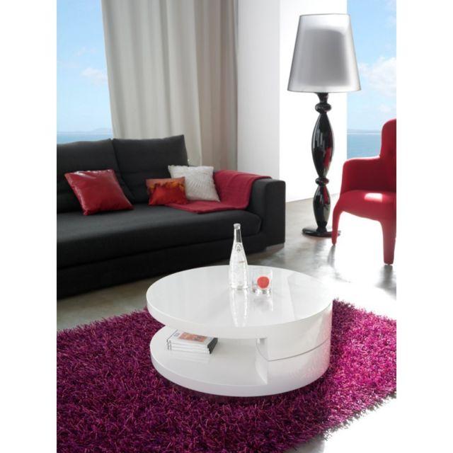 Ma Maison Mes Tendances Table basse ronde extensible en bois laqué blanc brillant Julia - L 80 x H 34