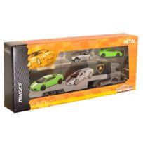 Majorette - Camion Racing Truck + 2 voitures : Camion noir Lamborghini