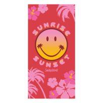Smiley - Drap de plage rose World 100% coton