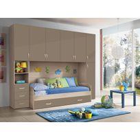 Mennza - Chambre d'enfant complète Hurra combiné lit pont décor orme / beige taupe