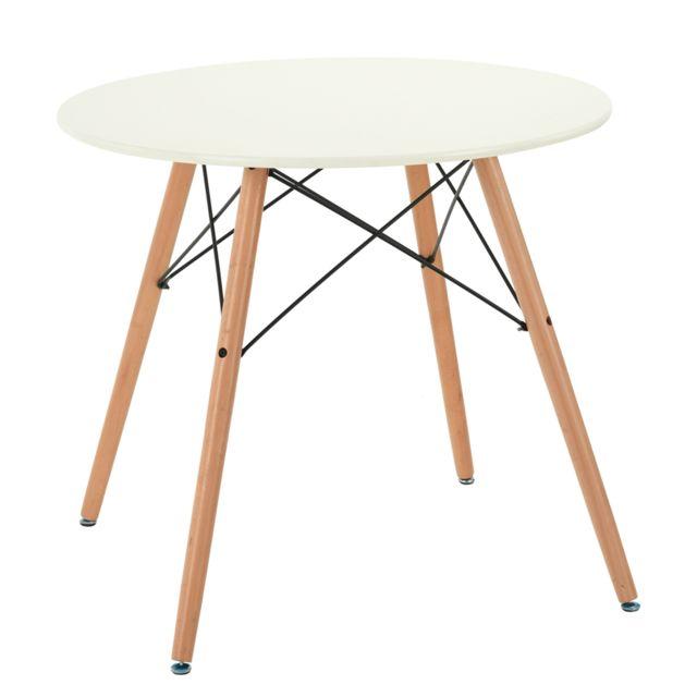 Table Ronde 80cm Panneau Bois Blanc