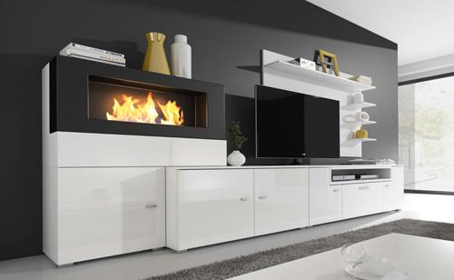 Home Innovation - Meuble de télévision, Meuble de Salon avec Cheminée Bioéthanol, finitions Blanc Mate et Blanc laqué, Dimensions : 290 x 170 x 45 cm de profondeur