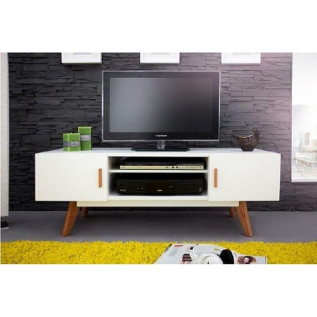 Beaux Meubles Pas Chers Meuble Tv Blanc 2 Portes 4 Pieds Chêne