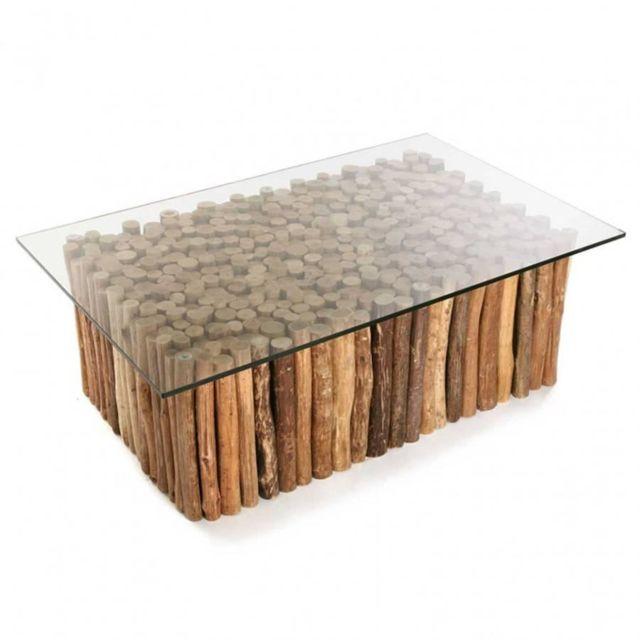 inside 75 table basse novante en teck flotte plateau verre pas cher achat vente tables. Black Bedroom Furniture Sets. Home Design Ideas
