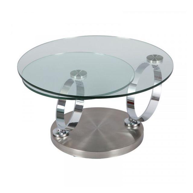 Dansmamaison Table basse articulée Acier/Verre - Rove - L 80 x l 80 x H 43 cm