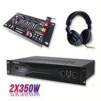 Ibiza Sound - Pack sonorisation amplificateur 700W Sa1000 + Table de mixage 4 voies 7 entrées + Casque