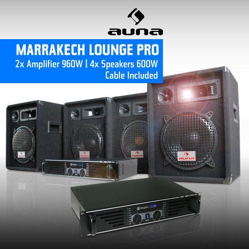 ELECTRONIC STAR DJ PA pro Pack sono 2 ampli 4 HP enceinte set kit 2400W Electronic-Star