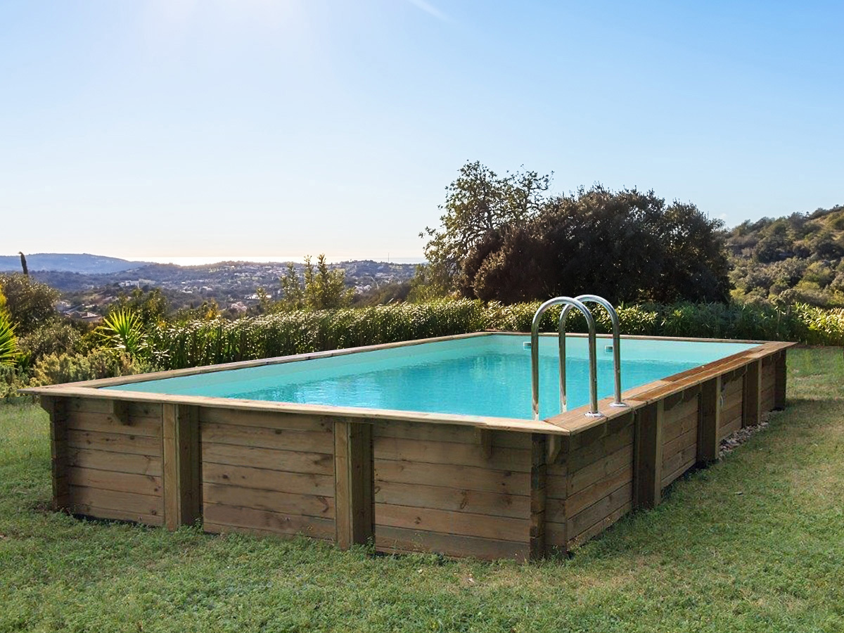 Piscine bois en kit rectangle Kolanta - 10.20 x 5.20 x 1.44 m