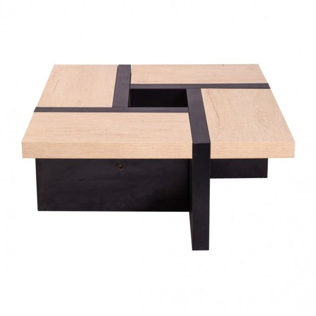 Mobili Rebecca Table Basse Table de Salon Bois Marron Fonce Beige Style Contemporain Living