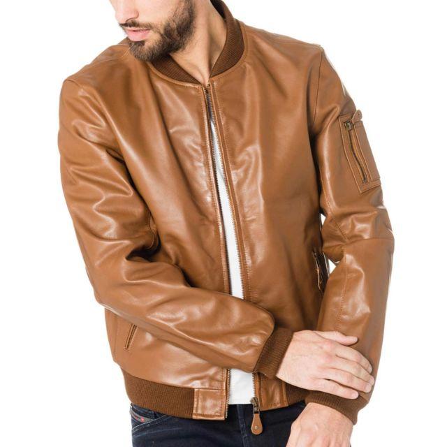 c2fe6b883a09 Cityzen - Veste Blouson cuir vintage Orlando pour homme Marron - pas ...