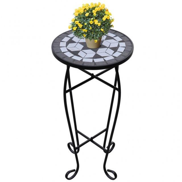 Casasmart Table d'appoint pour plantes en mosaïque noir et blanc