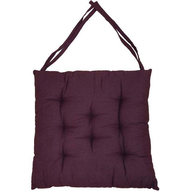 COTTON WOOD Galette de chaise en coton uni 40 cm 8 points