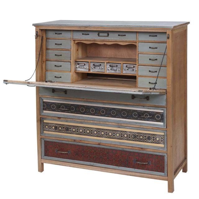 Mendler Scriban Hwc-a43, commode, armoire, bois massif de sapin, vintage patchwork 113x99x36cm