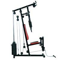 HOMCOM - Station de musculation Fitness entrainement complet développé couché butterfly barre latissimus curler et 10 contrepoids noir rouge neuf 39