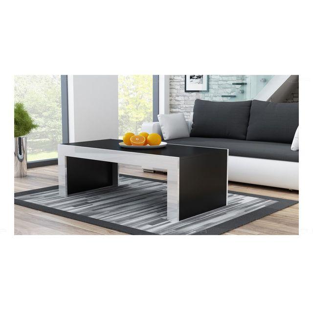 Grande table basse Spider Noir mat avec bordures blanc laquées