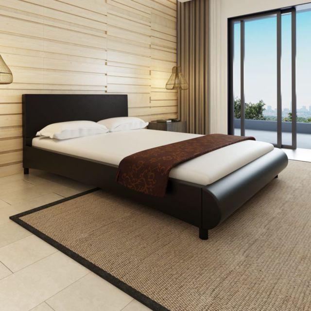Sans Marque Lit en cuir artificiel noir design courbé 140 x 200 cm
