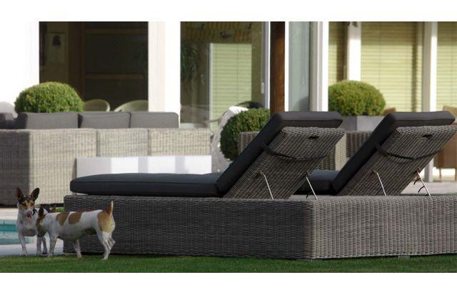 gecko jardin lit bain de soleil double en r sine tress e grise byron pas cher achat vente. Black Bedroom Furniture Sets. Home Design Ideas