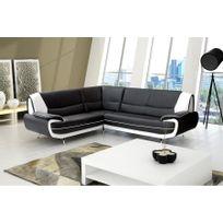 Chloe Design - Canapé d'angle moderne jana - noir et blanc - Angle gauche
