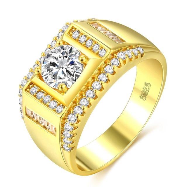 bague or avec diamant homme