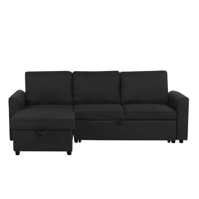 BELIANI Canapé avec rangement côté droit noir NESNA
