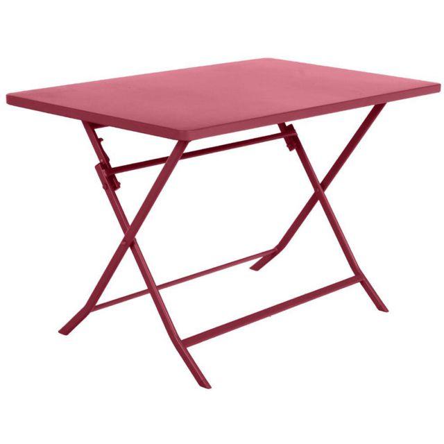 Pegane - Table de balcon pliante rectangulaire coloris Cerise - Dim ...