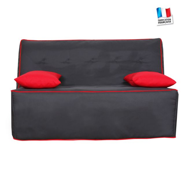 Canape Tissu Banquette Bz Nice mousse ferme Tissu anthracite