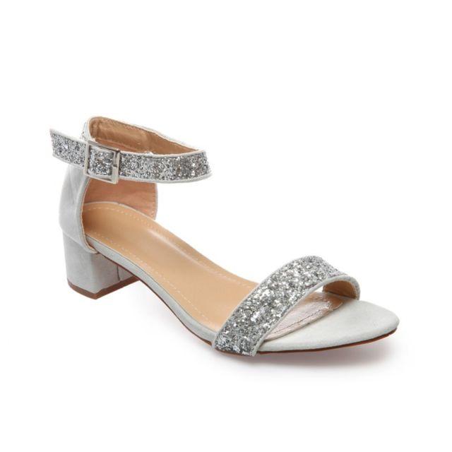 La Modeuse - Sandales argentées à talon carré - pas cher Achat   Vente  Sandales et tongs femme - RueDuCommerce e62b71ec3bbc