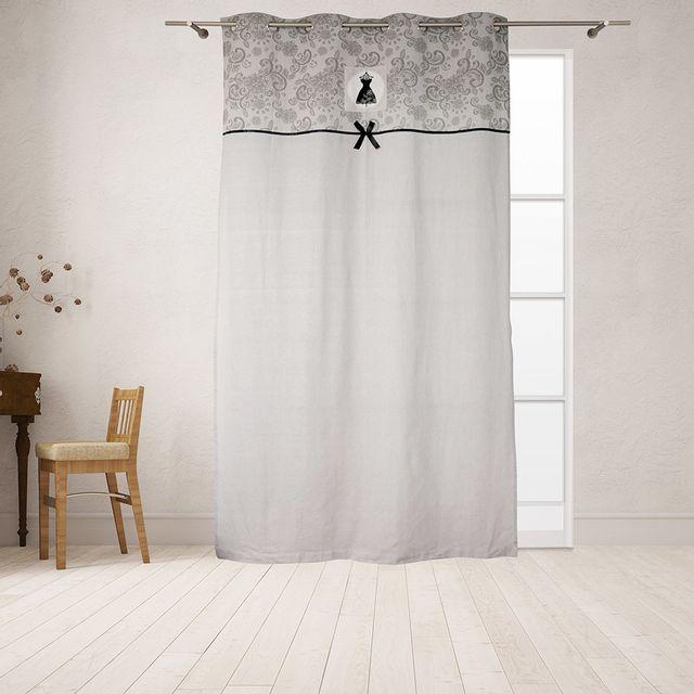 soleil d'ocre - rideau à oeillets 135x240cm black dress - pas cher