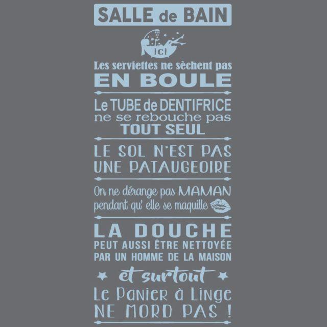 Sticker Texte - Les Règles De La Salle De Bains -1180x534 mm - Adhésif Mat  - Bleu Pâle