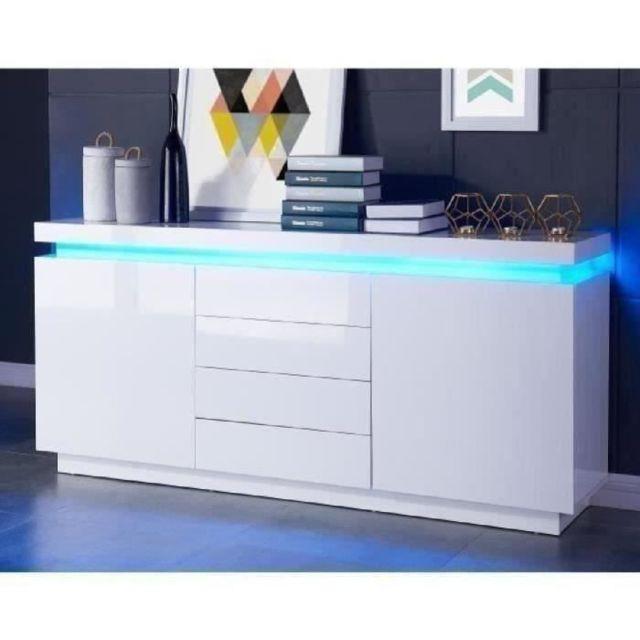 BUFFET - BAHUT - ENFILADE FLASH Buffet bas avec LED contemporain blanc laqué brillant - L 175 cm