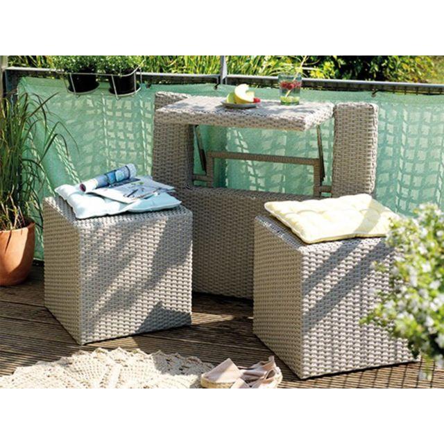 JARDIDECO Ensemble de balcon table et pouf ou banc Gris Java