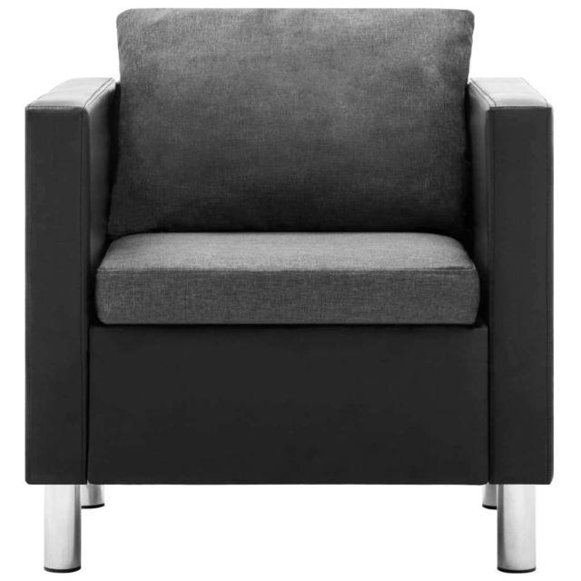 GÉNÉRIQUE Icaverne - Canapés famille Ensemble de canapé 3 pcs Similicuir Noir et gris clair