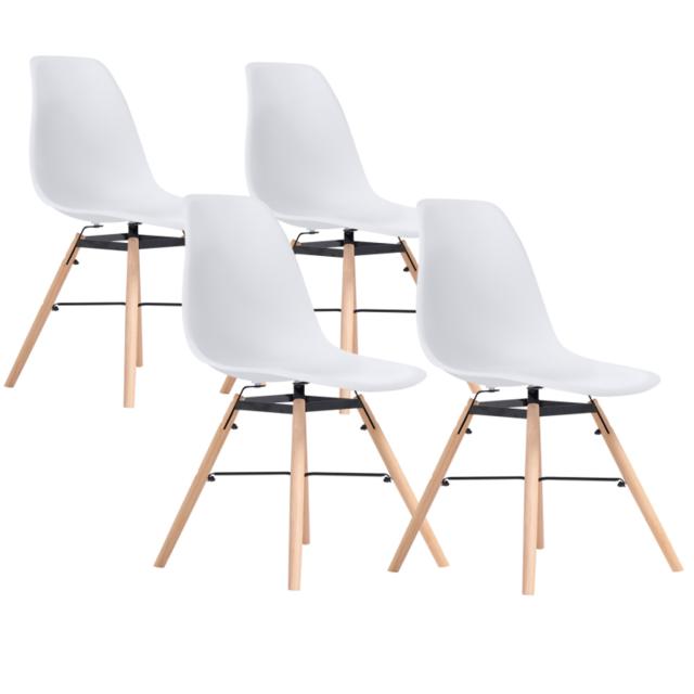 Idmarket Chaises X4 Design Scandinave Blanches Pieds Bois Pas