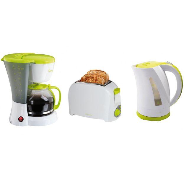 Domoclip Set petit déjeuner - Grille pain + Bouilloire + Cafetière - blanc et vert