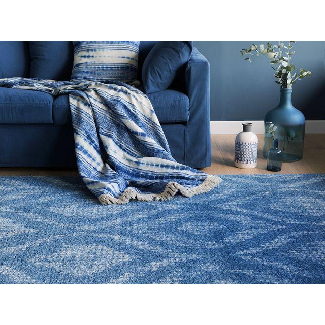 Akhal - Tapis 100% polypropylène effet laineux motif batik bleu/gris Baya - 160x230cm