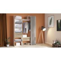 Dressing - Kit Amenagement De Placard Valby Kit rideau 1 colonne 60 cm avec  1 Penderie 2+1 tiroirs - Décor Chene Kronberg blanc - L 161,6 x H 218,3 x  ...