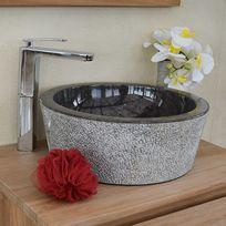 Ocean Line - Vasque de salle de bains à poser ronde en marbre noir ø 40 cm - Drip